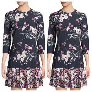 ELIZA J Long-Sleeve Floral-Print Ruffle-Hem Dress